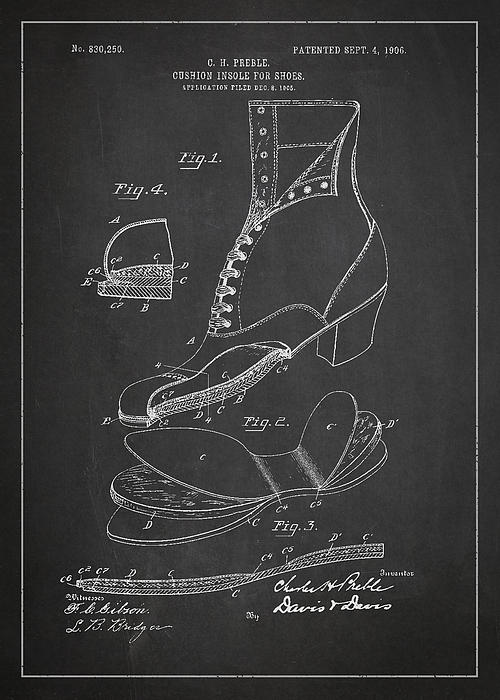 Cushion Insole For Shoes Patent Drawing From 1905 Print by Aged Pixel