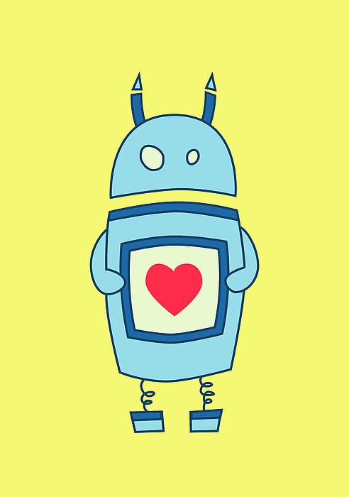 Cute Clumsy Robot With Heart Print by Boriana Giormova