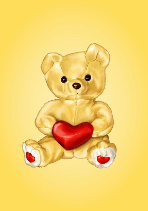 Cute Teddy Bear Hypnotist Print by Boriana Giormova