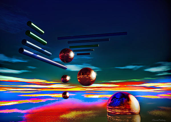 Cylinders And Spheres Print by Ramon Martinez