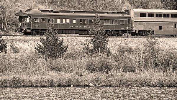 Cyrus K  Holliday Private Rail Car Bw Sepia Print by James BO  Insogna