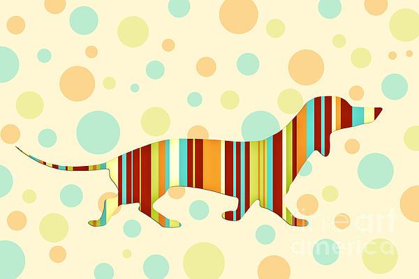 Dachshund Fun Colorful Abstract Print by Natalie Kinnear
