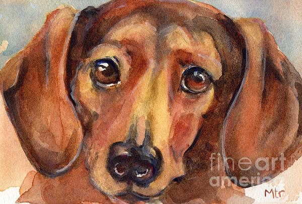 Dachshund Watercolor Print by Maria's Watercolor