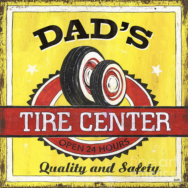 Dad's Tire Center Print by Debbie DeWitt