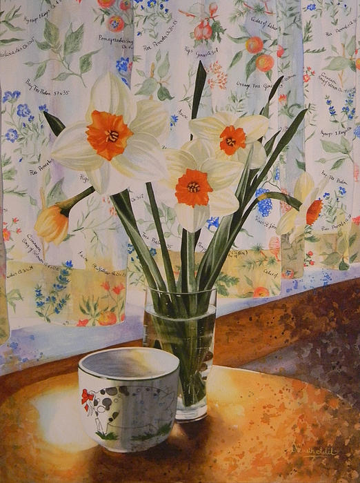 Daffodils With Red Ribbon Print by Adel Nemeth