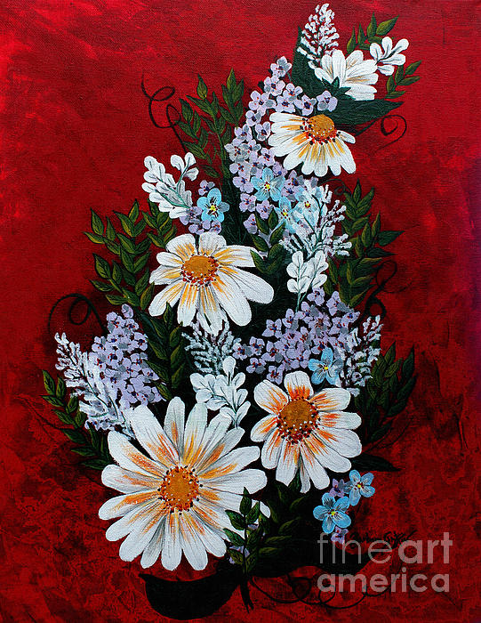 Daisies Lilacs And Forget Me Nots Print by Barbara Griffin