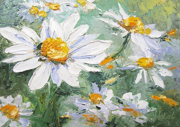 Daisy Delight Palette Knife Painting Print by Chris Hobel