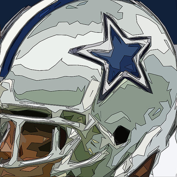 Dallas Cowboys Comic Style Helmet Abstract 2 Print by David G Paul