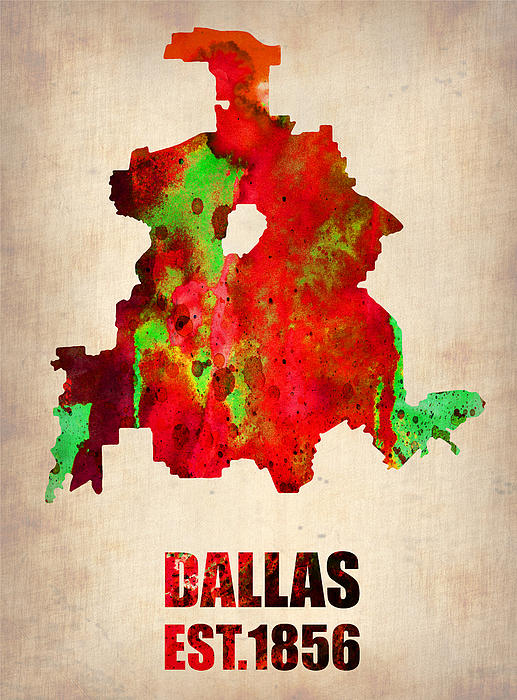 Dallas Watercolor Map Print by Naxart Studio