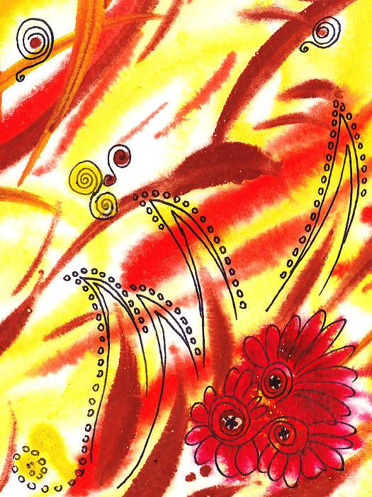 Dancing Lines And Flowers Abstract Print by Irina Sztukowski