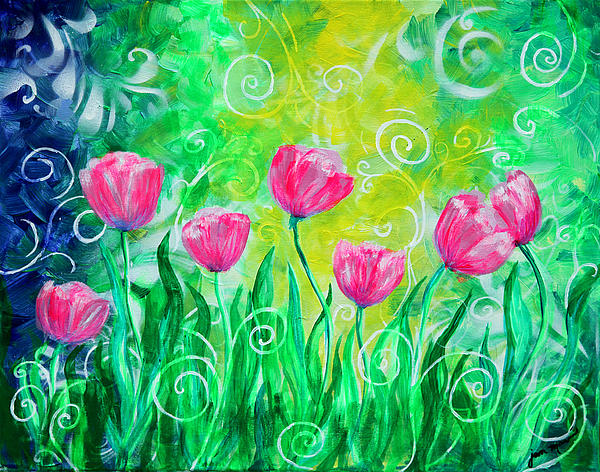 Dancing Tulips Painting
