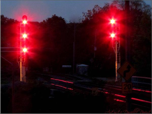 Danger Train Signals On Print by Danielle  Parent