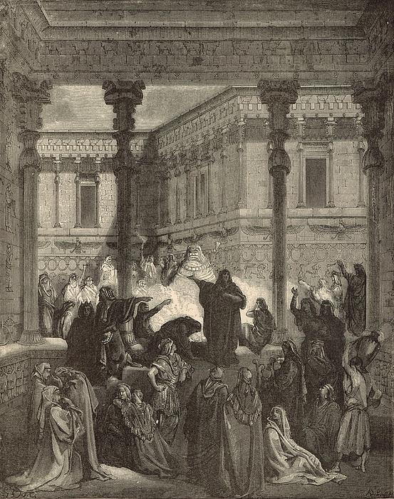 Daniel Confounding The Priests Of Bel Print by Antique Engravings