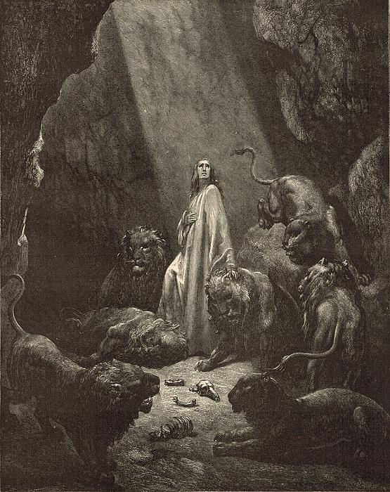 Daniel In The Lions' Den Print by Antique Engravings