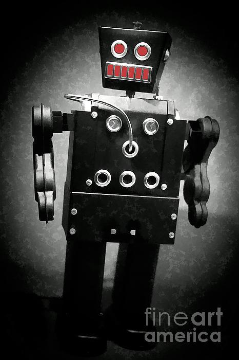 Dark Metal Robot Oil Print by Edward Fielding