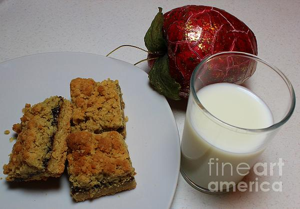 Date Squares - Snack - Dessert - Milk Print by Barbara Griffin