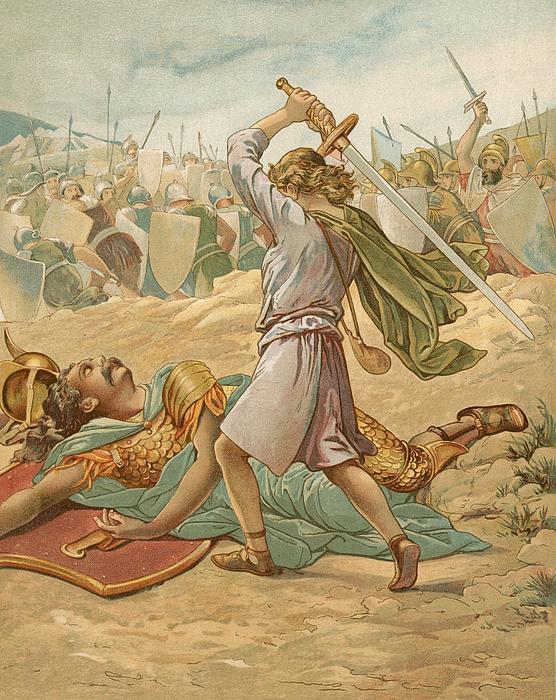 David About To Slay Goliath Print by John Lawson