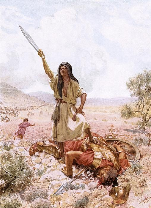 David And Goliath Print by William Brassey Hole