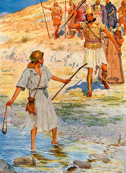 David And Goliath Print by William Henry Margetson