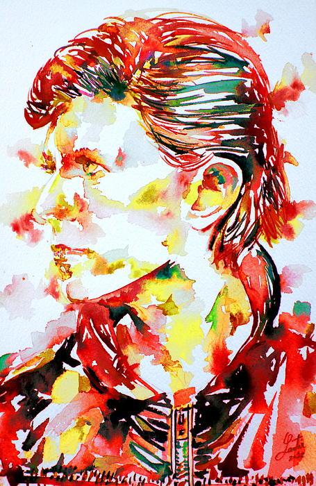 David Bowie Watercolor Portrait.1 Print by Fabrizio Cassetta