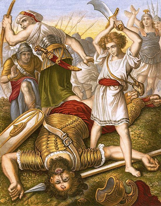 David Slaying Goliath Print by English School