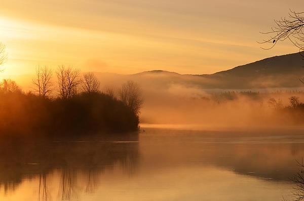 Dawn On The Kootenai River Print by Annie Pflueger