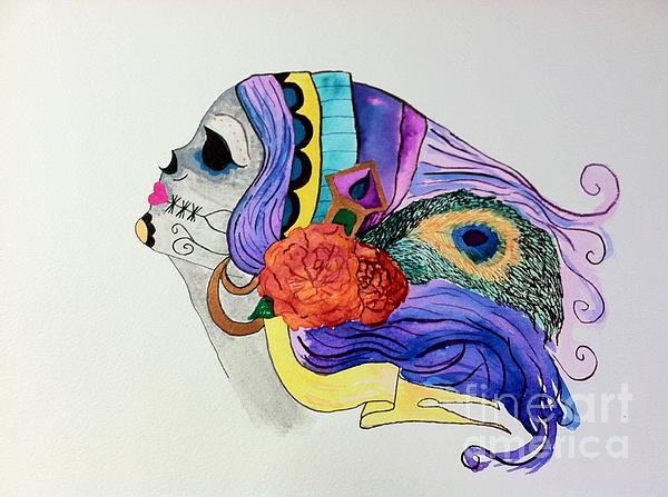 Day Of The Dead Lady 2 Print by Melissa Darnell Glowacki