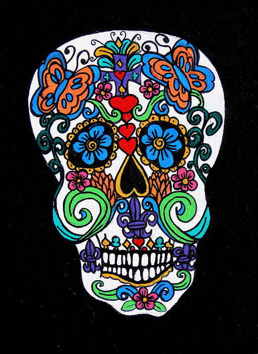 Day Of The Dead Skull Print by Genevieve Esson