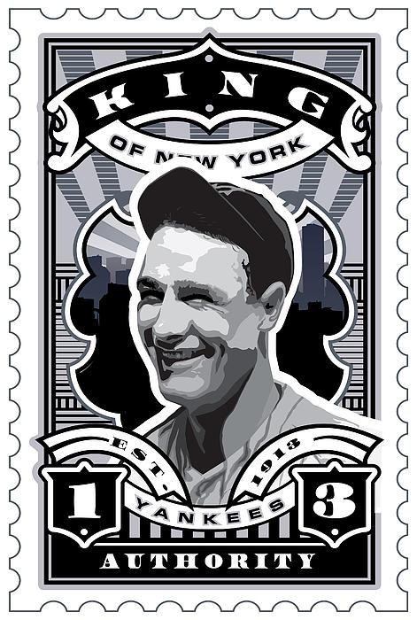 Dcla Lou Gehrig Kings Of New York Stamp Artwork Print by David Cook Los Angeles
