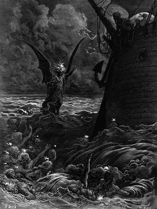Death-fires Dancing Around The Becalmed Ship Print by Gustave Dore