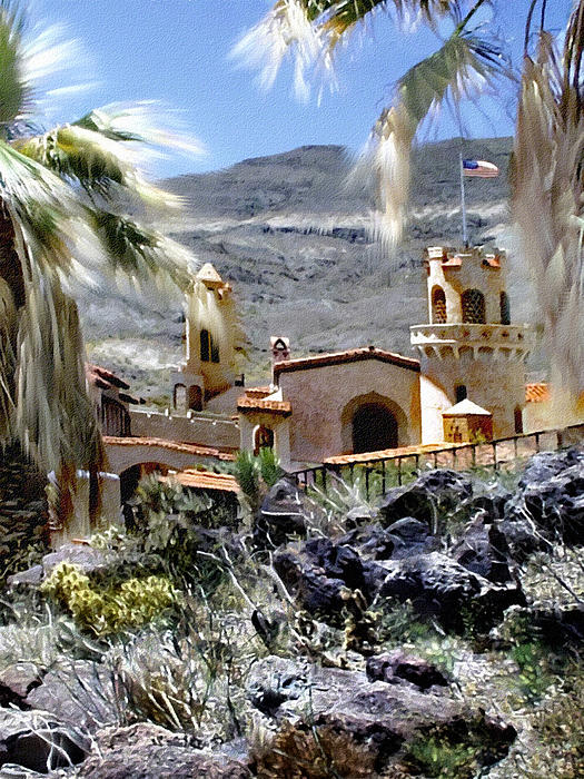 Death Valley Scotty's Castle Print by Bob and Nadine Johnston