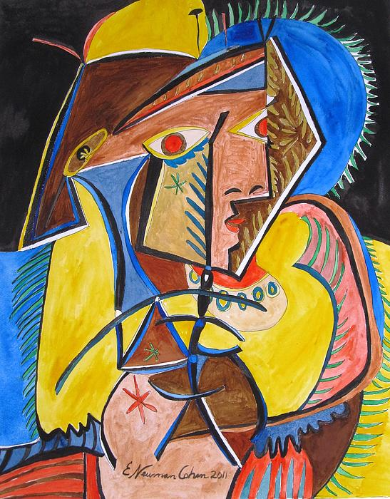 Deconstructing Picasso  - A Sexy Woman Print by Esther Newman-Cohen