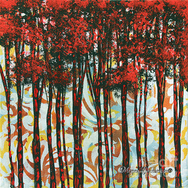 Decorative Abstract Floral Bird Landscape Painting Forest Of Dreams II By Megan Duncanson Print by Megan Duncanson