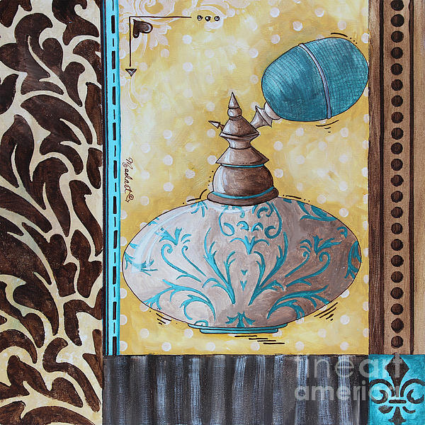 Decorative Bathroom Bath Art Original Perfume Bottle Painting Fantasy Perfume By Madart Print by Megan Duncanson