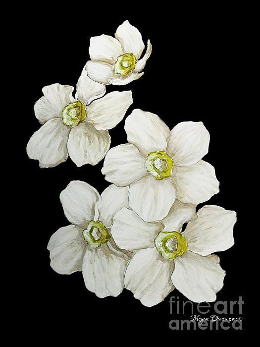 Decorative White Floral Flowers Art Original Chic Painting Madart Studios Print by Megan Duncanson