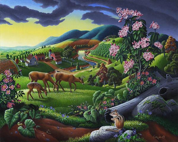 Deer Chipmunk Summer Appalachian Folk Art - Rural Country Farm Landscape - Americana  Print by Walt Curlee