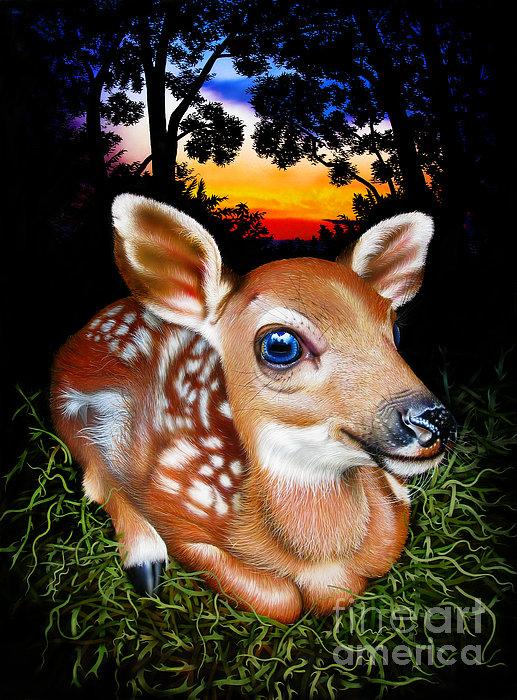 Deer Fawn Print by Jurek Zamoyski