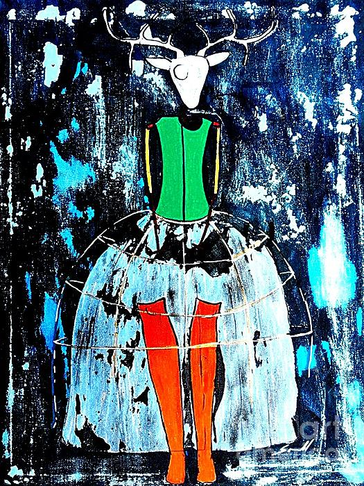 Deer Woman Print by Amy Sorrell