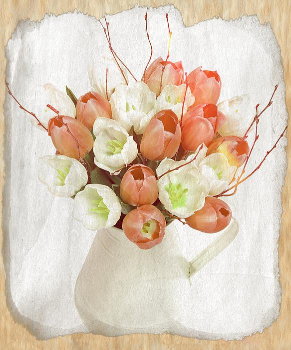 Deluxe Peach Tulips Print by Debra  Miller