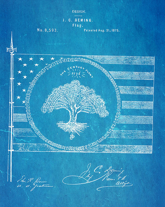 Deming Century Flag Patent Art 1875 Blueprint Print by Ian Monk