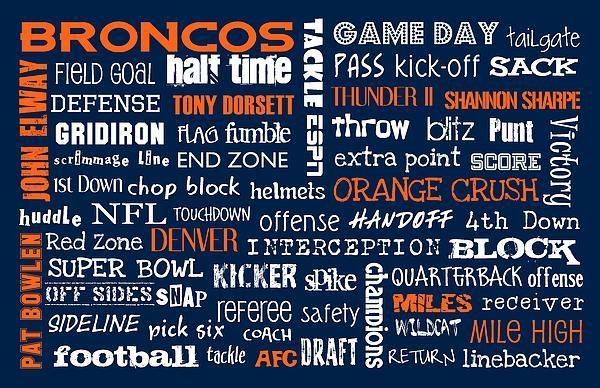 Denver Broncos Print by Jaime Friedman