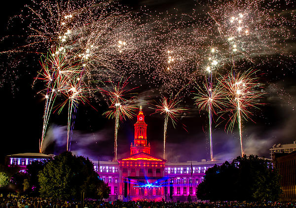 Denver Co 4th Of July Fireworks Print by Teri Virbickis