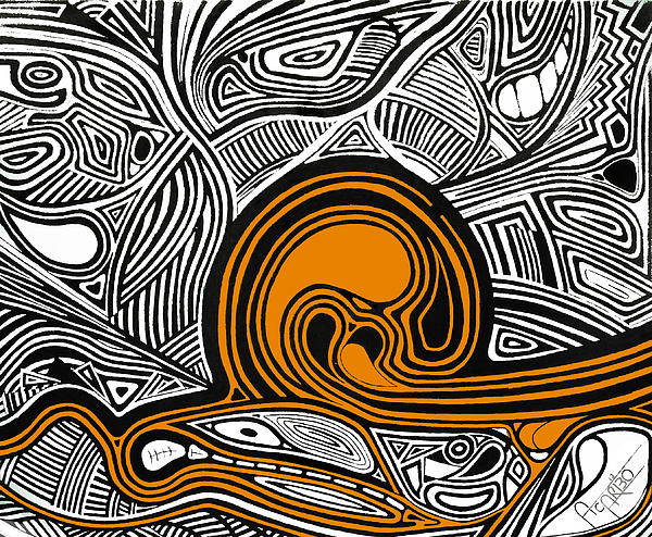 Depth1 Abstract Lines Orange Print by Andres Carbo