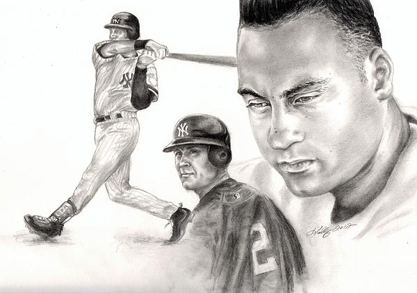 Derek Jeter Print by Kathleen Kelly Thompson