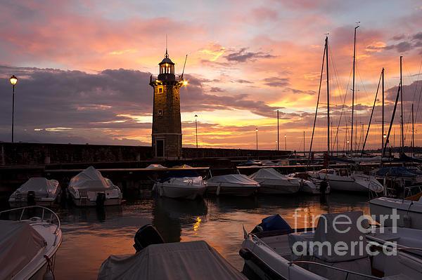 Desenzano Del Garda Marina Old Lighthouse Sunrise Print by Kiril Stanchev