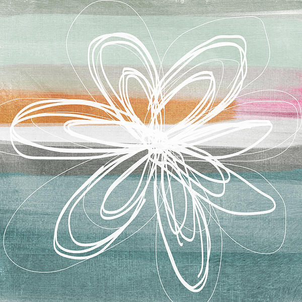 Desert Flower- Contemporary Abstract Flower Painting Print by Linda Woods