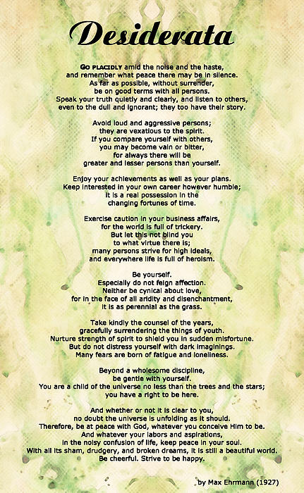 Desiderata 5 - Words Of Wisdom Print by Sharon Cummings