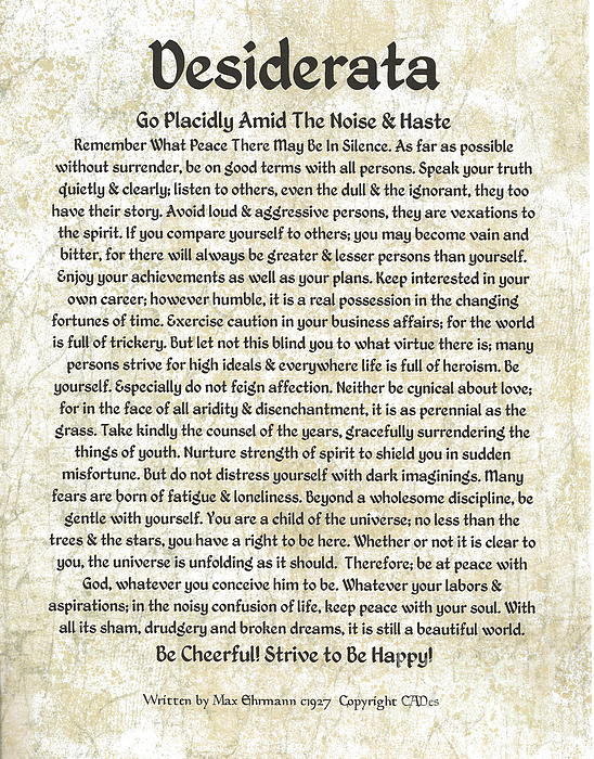 Desiderta Poem On Tuscan Marble Print by Claudette Armstrong