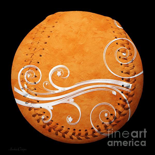 Designer Orange Baseball Square Print by Andee Design