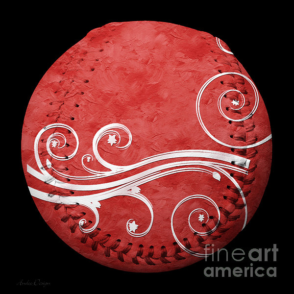 Designer Red Baseball Square Print by Andee Design